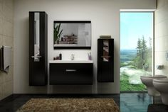 Hemmings Bathroom Wall Cabinet, Vanity Unit & Basin Set - Available in Black, White or Sonoma Oak - Only with Free UK delivery Bathroom Wall Cabinets, Bathroom Furniture, Garden Furniture, Living Room Furniture, Modern Vanity, Modern Bathroom, Sonoma Oak, Vanity Units, Basin