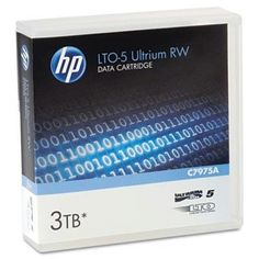 """HP 1/2 inch Tape Ultrium LTO Data Cartridge - 1/2"""" Ultrium LTO-5 Cartridge, 2775ft, 1.5TB Native/3TB Compressed Capacity by HP. $123.60. Data Tapes. Storage Media. These high capacity, low cost per gigabyte cartridges are perfect for backups, restorations and archival needs. As they feature native AES-256 bit key encryption, data protection is ensured. Active internal head cleaning and self-diagnostic capacities also provide superior reliability. Regarding dependable rec..."""