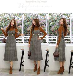 Check Print Wool Blend A-Line Dress Korean Women's Fashion Shopping Mall, Styleonme. Women's Fashion Dresses, Hijab Fashion, Runway Fashion, Girl Fashion, Womens Fashion, Fashion Design, Fashion 2018, Cheap Fashion, Fashion Fall