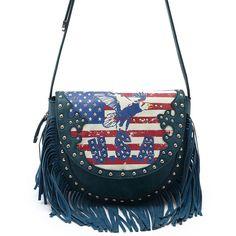Western Cowgirl Fringe USA Flag Design Cross Body Messenger Bag #GetEverythingElse #MessengerCrossBody