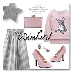 """Pink & Gray Winter Style"" by metter1 ❤ liked on Polyvore featuring Judith Leiber and Yvonne Léon"