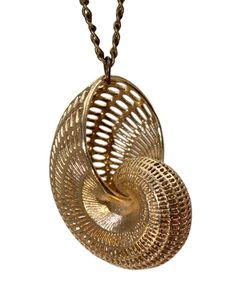 Nautilus shell jewelry 3D Printed seashell pendant necklace geometric wireframe shell mermaid beach jewelry