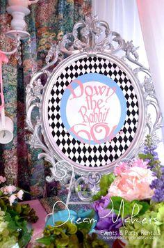 Easy DIY signs. Use scrap booking papers. Alice in Wonderland Quinceañera Party Ideas | Catch My Party