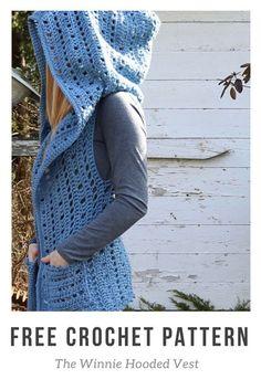 Crochet Diy The Winnie Hooded Vest - Free crochet pattern! T-shirt Au Crochet, Cardigan Au Crochet, Beau Crochet, Pull Crochet, Gilet Crochet, Crochet Vest Pattern, Crochet Shirt, Crochet Jacket, Crochet Scarves