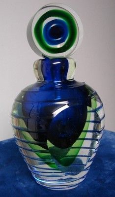 Magnificent Vintage Heavy Murano Glass Perfume Bottle Peacock Blue Green | eBay