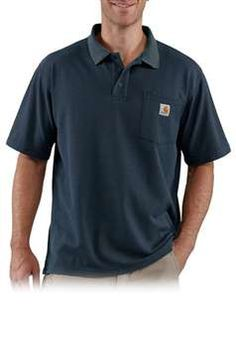 Carhartt Mens Contractors Work Pocket Blended Pique Polo - Navy | Buy Now at camouflage.ca