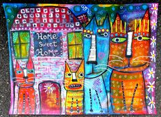 """""""Home Sweet Home"""" a mixed media collage kitty cat painting by me!"""