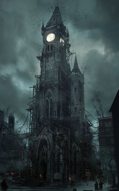Clock Tower LOVE THE DARK, CREEPY NIGHT…….IT'S ALMOST TIME FOR THE GHOULS TO APPEAR, ALONG WITH THE BATS & RAVENS……GOTTA GO NOW…….ccp