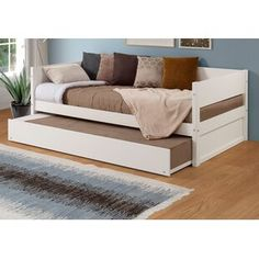 Red Barrel Studio Kareem Wood Panel Twin Daybed with Trundle Color: White Wooden Daybed With Trundle, Wood Daybed, Upholstered Daybed, Wooden Sofa, Trundle Mattress, Twin Trundle Bed, Under Bed, New Beds, Bed Plans
