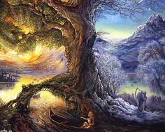 """""""Tree of Time - River of Life (zoom)"""" par Josephine Wall"""