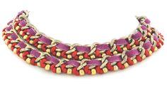 Collar cadena y cinta de colores