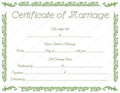 Blank Marriage Certificate - Remar with Blank Marriage Certificate Template - Best Templates Ideas For You Certificate Format, Certificate Design Template, Wedding Certificate, Marriage Certificate, Certificates Online, Printable Certificates, Funny Certificates, Marriage Records, Marriage License