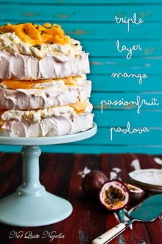 Triple Layer Mango & Passion Fruit Pavlova -- it was delicious! But I made a huge mess trying to stack it. Pavlova Cake, Meringue Pavlova, Meringue Desserts, Köstliche Desserts, Delicious Desserts, Dessert Recipes, Yummy Food, Plated Desserts, Meringue Food