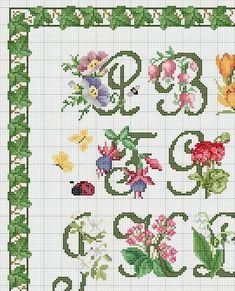 Schema Punto Croce Alfabeto Floreale 2