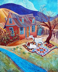 """Green Summer"" ~ Sally Bartos, New Mexico Artist Illustrations, Illustration Art, Landscape Art Quilts, Landscapes, Cottage Art, Southwest Art, Fine Art Photo, Naive Art, Colorful Drawings"