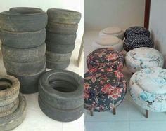 Tire Furniture, Recycled Furniture, Furniture Projects, Tire Craft, Tyres Recycle, Recycled Tires, Tire Chairs, Homemade Home Decor, Tufted Ottoman