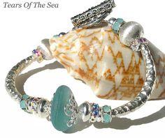 Aqua Blue Sea Glass Bangle Bracelet