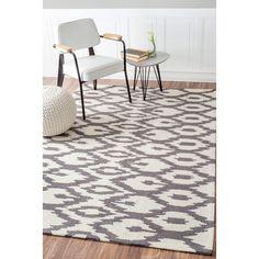 nuloom handmade modern ikat trellis grey rug 7u00276 x 9u00276 - Nuloom Rugs