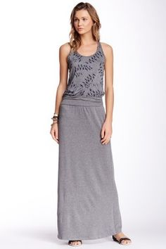 Delphine Maxi Dress.  navy birds on grey