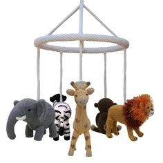 Use the Knitables cot mobile frame to create an adorable and unique mobile for your little one to enjoy. By selecting your own animals, characters or objects the mobile can be made to fit any theme. The example shown has used the animals from the Knitables Noah's Ark Collection.