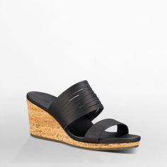a4edbb0515a06 Arrabelle Slide Leather - Arrabelle Slide Leather Black Wedge Sandals