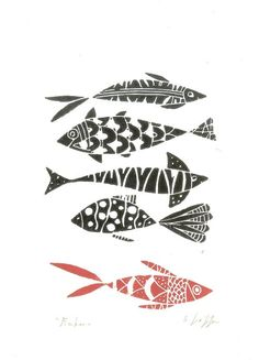 Fishes Print – Original Linocut Print – Fish Lino Print – Hand Pulled – Black and Red Fishes – Printmaking Art – The Bluebirdgallery Fische Original Linolschnitt Drucken Fisch von TheBluebirdGallery Linoleum Print, Linoprint, Fish Print, Fish Design, Red Fish, Tampons, Linocut Prints, Art Prints, Gravure