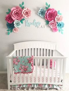Pink and blue baby decor - floral nursery decor - large paper flowers - nursery wall decor - flowers for nursery - wall flowers - Nursery Wall Decor, Baby Room Decor, Nursery Room, Girl Nursery, Girl Room, Crib Wall, Nursery Ideas, Nursery Design, Nursery Layout
