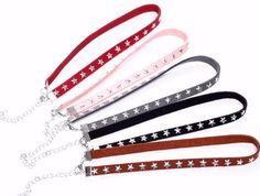 Red, Brown, Black, Pink, Gray Suede Choker Silver Stars Necklace FREE SHIPPING     eBay