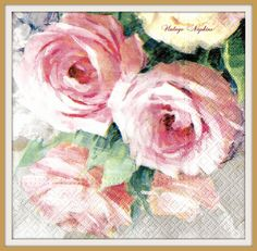 SALE *** TWO Paper napkins for DECOUPAGE - Aquarelle Pink Roses #363 by VintageNapkins on Etsy