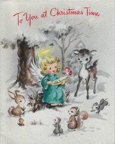 Vintage Greeting Card Christmas Angel Deer Forest Animals (O592)