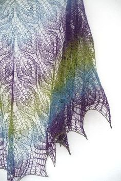 Peacock hand knit  lace shawl  purple blue green by Sissta on Etsy, $90.00