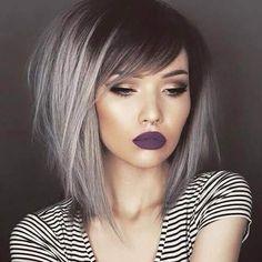Silver hair long bob lob ombré