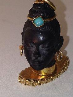 18K Gold Blackamoor Vintage Charm Pendant Turquoise Beautiful Carving Detail   eBay..