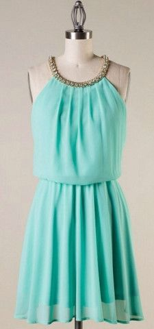 Mint Dress with Rhinestone Detail