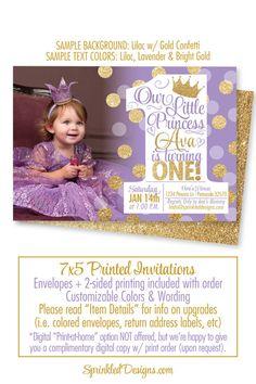 Princess First Birthday Girl Invitations, Purple Gold Glitter Princess 1st Birthday Invitation Photo Card, BIG ONE Princess Invitations