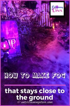 Want to make your Halloween front yard graveyard extra scary? Here's an awesome solution - easy Halloween fog that stays low to the ground and is super inexpensive. This easy DIY Halloween outdoor decor will definitely make that scary atmosphere! Dry Ice Halloween, Halloween Yard Art, Halloween Decorations For Kids, Halloween Party Drinks, Halloween Graveyard, Halloween Bottles, Halloween Haunted Houses, Outdoor Halloween, Halloween House
