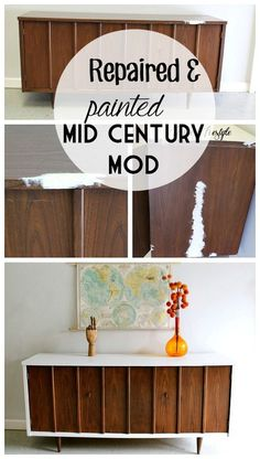 I wanted to leave as much of the natural wood as possible on this mid century modern piece, I repaired and painted it. The top was actually laminate and there was a big chunk missing. #DIY #midcentury #furniture