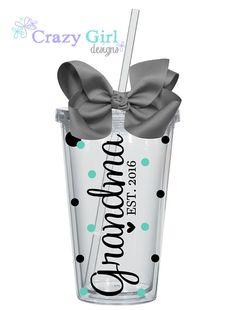 Personalized Grandma Tumbler,  Grandma Gift,  Gift, Personalized Grandma Gifts, New Grandma Gift 16 oz. Acrylic Cup BPA Free Custom