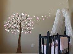 Baby Room decor. Love the painted cherry blossom heart tree!