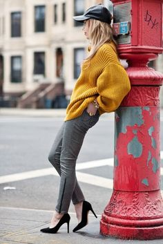 Standing on the Corner Street Fashion in Yellow and Black....oh, and red if you count the leaning post!    #streetfashion
