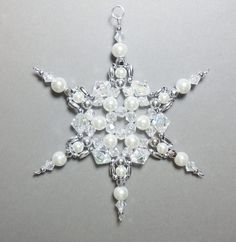 Snowflake Ornament - White Pearl Silver and Clear AB - Beaded Ornaments - Snowflakes - Christmas Ornaments Snowflake Craft, Snowflake Ornaments, Christmas Snowflakes, Beaded Snowflake, Paper Snowflakes, Beaded Christmas Ornaments, Christmas Crafts, Christmas Stuff, Christmas Ideas
