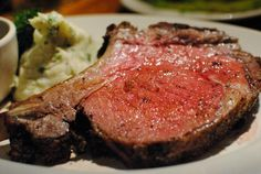 Certified Angus and USDA Prime steaks served with a choice of eight toppings such as butter-poached lobster tail and blue cheese Prime Steak, Prime Rib Roast, Butter Poached Lobster, Standing Rib Roast, Usda Prime, Prime Rib Recipe, Steak And Seafood, Holiday Dinner, Restaurant Bar