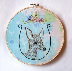 Custom Animal Embroidery on Vintage Floral Fabric - Wildflower Framed Animal Portrait