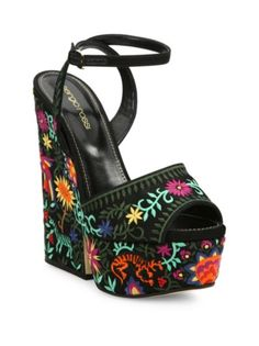 Sergio Rossi - Cancun Embroidered Platform Wedge Sandals