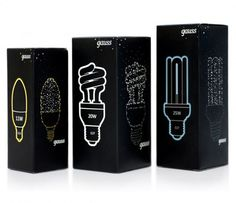 The packaging is unoriginal and simple, however the overall design of the packaging is very modern. The black makes the light designs so eye-catching and bold, would definitely stand out against other lightbulb packaging on the shelf. Black Packaging, Cool Packaging, Design Packaging, Packaging Ideas, Web Design, Label Design, Package Design, Brand Design, Electronics Projects