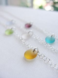 Tiny Beach Glass Necklace - choose from 6 different sea glass colors. Chain is available in silver or gold. By Olive Yew.