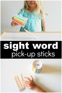 Sight Word Pick-Up Sticks Game for Kindergarten and First Grade Spelling Word Games, Spelling Activities, Sight Word Activities, Literacy Activities, Reading Activities, Preschool Names, Spelling Practice, Reading Games, Preschool Literacy
