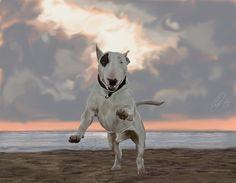 English Bull Terrier Painted by LuckyJellyfish.deviantart.com on @deviantART