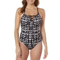 8f8420bca344d Time and Tru Women s Moon Gaze Strappy One-Piece Swimsuit