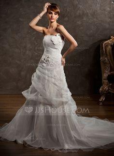 A-Line/Princess Strapless Chapel Train Organza Satin Wedding Dress With Ruffle Appliques Flower(s) (002000647)